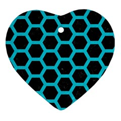 HEXAGON2 BLACK MARBLE & TURQUOISE COLORED PENCIL (R) Heart Ornament (Two Sides)