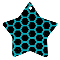 HEXAGON2 BLACK MARBLE & TURQUOISE COLORED PENCIL (R) Star Ornament (Two Sides)