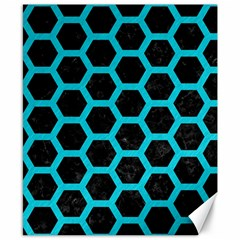 HEXAGON2 BLACK MARBLE & TURQUOISE COLORED PENCIL (R) Canvas 8  x 10