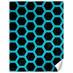 HEXAGON2 BLACK MARBLE & TURQUOISE COLORED PENCIL (R) Canvas 12  x 16