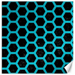 HEXAGON2 BLACK MARBLE & TURQUOISE COLORED PENCIL (R) Canvas 16  x 16