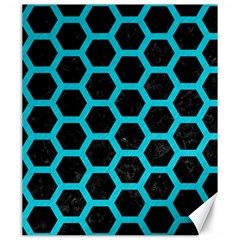 HEXAGON2 BLACK MARBLE & TURQUOISE COLORED PENCIL (R) Canvas 20  x 24