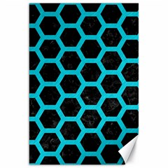 HEXAGON2 BLACK MARBLE & TURQUOISE COLORED PENCIL (R) Canvas 20  x 30