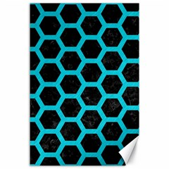 HEXAGON2 BLACK MARBLE & TURQUOISE COLORED PENCIL (R) Canvas 24  x 36