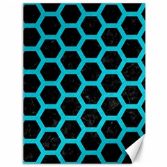 HEXAGON2 BLACK MARBLE & TURQUOISE COLORED PENCIL (R) Canvas 36  x 48
