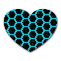 HEXAGON2 BLACK MARBLE & TURQUOISE COLORED PENCIL (R) Heart Mousepads
