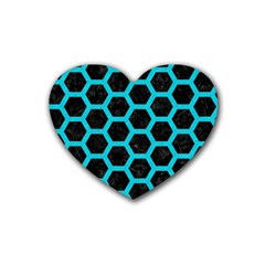HEXAGON2 BLACK MARBLE & TURQUOISE COLORED PENCIL (R) Rubber Coaster (Heart)