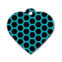 HEXAGON2 BLACK MARBLE & TURQUOISE COLORED PENCIL (R) Dog Tag Heart (Two Sides)