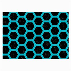 HEXAGON2 BLACK MARBLE & TURQUOISE COLORED PENCIL (R) Large Glasses Cloth