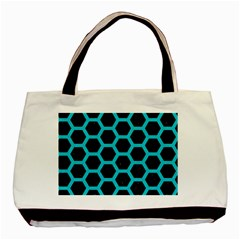 HEXAGON2 BLACK MARBLE & TURQUOISE COLORED PENCIL (R) Basic Tote Bag (Two Sides)