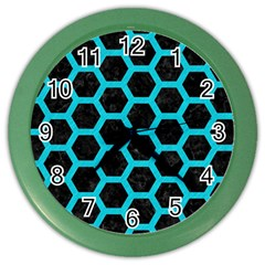 HEXAGON2 BLACK MARBLE & TURQUOISE COLORED PENCIL (R) Color Wall Clocks