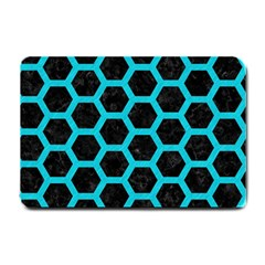 HEXAGON2 BLACK MARBLE & TURQUOISE COLORED PENCIL (R) Small Doormat