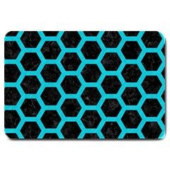 HEXAGON2 BLACK MARBLE & TURQUOISE COLORED PENCIL (R) Large Doormat