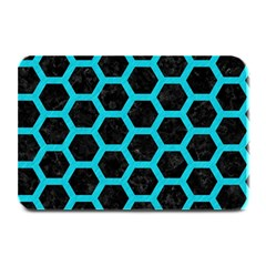 HEXAGON2 BLACK MARBLE & TURQUOISE COLORED PENCIL (R) Plate Mats