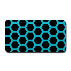 HEXAGON2 BLACK MARBLE & TURQUOISE COLORED PENCIL (R) Medium Bar Mats