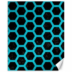 HEXAGON2 BLACK MARBLE & TURQUOISE COLORED PENCIL (R) Canvas 11  x 14