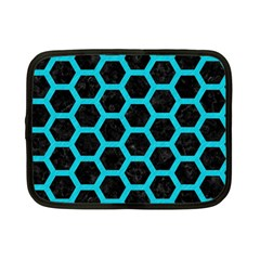 HEXAGON2 BLACK MARBLE & TURQUOISE COLORED PENCIL (R) Netbook Case (Small)