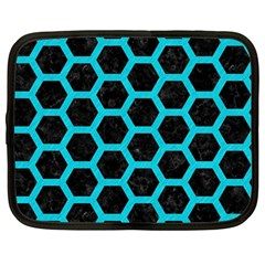 HEXAGON2 BLACK MARBLE & TURQUOISE COLORED PENCIL (R) Netbook Case (Large)