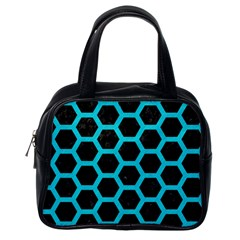 HEXAGON2 BLACK MARBLE & TURQUOISE COLORED PENCIL (R) Classic Handbags (One Side)