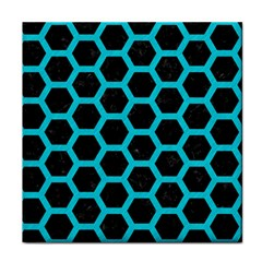 HEXAGON2 BLACK MARBLE & TURQUOISE COLORED PENCIL (R) Face Towel