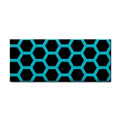 Hexagon2 Black Marble & Turquoise Colored Pencil (r) Cosmetic Storage Cases by trendistuff