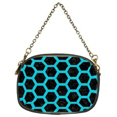 HEXAGON2 BLACK MARBLE & TURQUOISE COLORED PENCIL (R) Chain Purses (One Side)