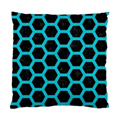HEXAGON2 BLACK MARBLE & TURQUOISE COLORED PENCIL (R) Standard Cushion Case (One Side)