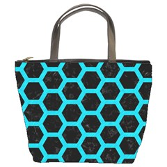 HEXAGON2 BLACK MARBLE & TURQUOISE COLORED PENCIL (R) Bucket Bags