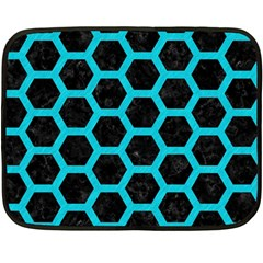 HEXAGON2 BLACK MARBLE & TURQUOISE COLORED PENCIL (R) Fleece Blanket (Mini)