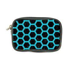 HEXAGON2 BLACK MARBLE & TURQUOISE COLORED PENCIL (R) Coin Purse