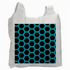 HEXAGON2 BLACK MARBLE & TURQUOISE COLORED PENCIL (R) Recycle Bag (Two Side)