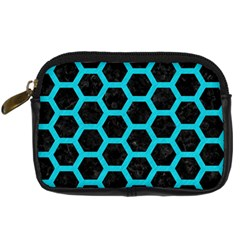 HEXAGON2 BLACK MARBLE & TURQUOISE COLORED PENCIL (R) Digital Camera Cases
