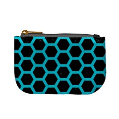 HEXAGON2 BLACK MARBLE & TURQUOISE COLORED PENCIL (R) Mini Coin Purses