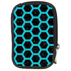 HEXAGON2 BLACK MARBLE & TURQUOISE COLORED PENCIL (R) Compact Camera Cases