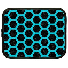 HEXAGON2 BLACK MARBLE & TURQUOISE COLORED PENCIL (R) Netbook Case (XL)