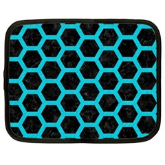 HEXAGON2 BLACK MARBLE & TURQUOISE COLORED PENCIL (R) Netbook Case (XXL)
