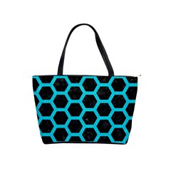 HEXAGON2 BLACK MARBLE & TURQUOISE COLORED PENCIL (R) Shoulder Handbags