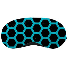 HEXAGON2 BLACK MARBLE & TURQUOISE COLORED PENCIL (R) Sleeping Masks
