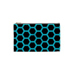 HEXAGON2 BLACK MARBLE & TURQUOISE COLORED PENCIL (R) Cosmetic Bag (Small)