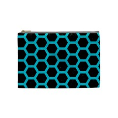 HEXAGON2 BLACK MARBLE & TURQUOISE COLORED PENCIL (R) Cosmetic Bag (Medium)