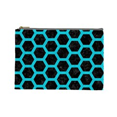 HEXAGON2 BLACK MARBLE & TURQUOISE COLORED PENCIL (R) Cosmetic Bag (Large)