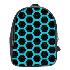HEXAGON2 BLACK MARBLE & TURQUOISE COLORED PENCIL (R) School Bag (Large)