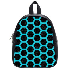 HEXAGON2 BLACK MARBLE & TURQUOISE COLORED PENCIL (R) School Bag (Small)