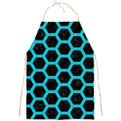 HEXAGON2 BLACK MARBLE & TURQUOISE COLORED PENCIL (R) Full Print Aprons