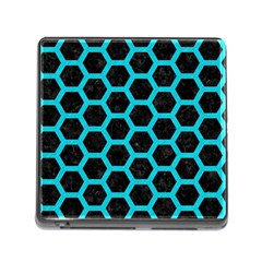 HEXAGON2 BLACK MARBLE & TURQUOISE COLORED PENCIL (R) Memory Card Reader (Square)