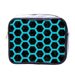 HEXAGON2 BLACK MARBLE & TURQUOISE COLORED PENCIL (R) Mini Toiletries Bags