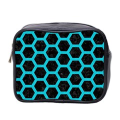 HEXAGON2 BLACK MARBLE & TURQUOISE COLORED PENCIL (R) Mini Toiletries Bag 2-Side