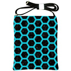 HEXAGON2 BLACK MARBLE & TURQUOISE COLORED PENCIL (R) Shoulder Sling Bags