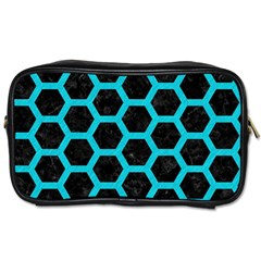 HEXAGON2 BLACK MARBLE & TURQUOISE COLORED PENCIL (R) Toiletries Bags 2-Side