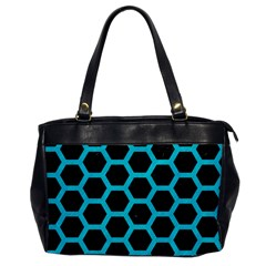 HEXAGON2 BLACK MARBLE & TURQUOISE COLORED PENCIL (R) Office Handbags